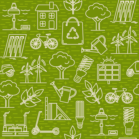 Green seamless pattern with energy and ecology symbols in thin line style.