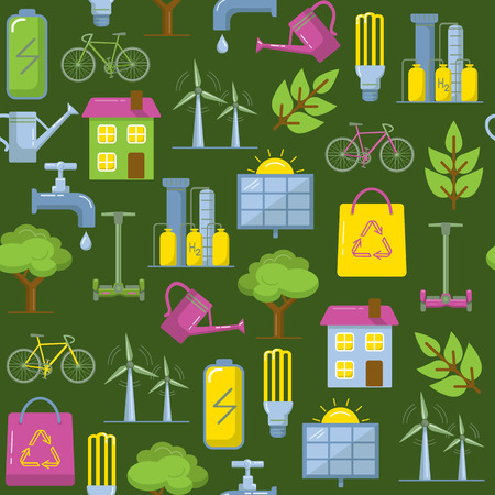 Green seamless pattern with energy and ecology symbols in flat style. Illustration