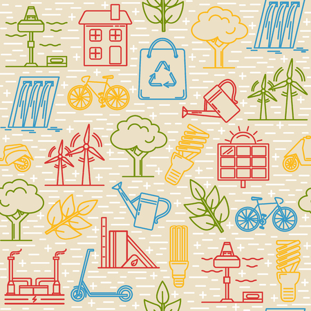 Bright seamless pattern with energy and ecology symbols in thin line style.