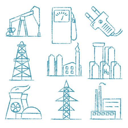 Collection of energy and electricity hand drawn style icons.