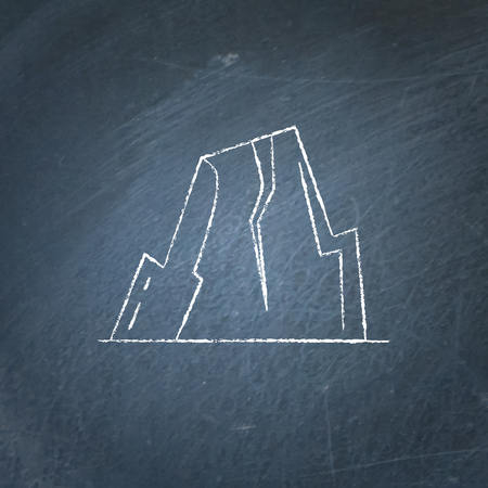 Mountain with ledges icon on chalkboard. Rock with plateau symbol.