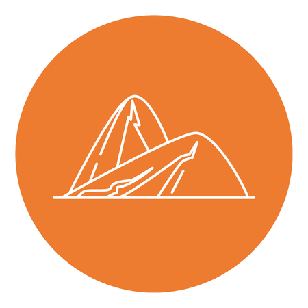 Sloping hills icon in thin line style.