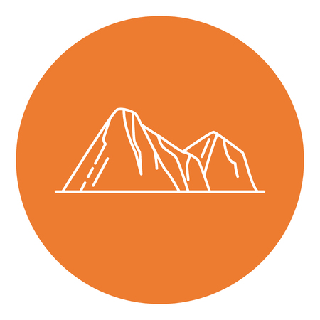 Mountain peaks icon in thin line style. Illustration