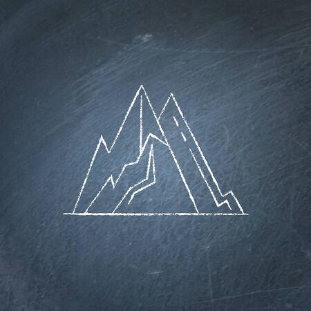 Mountain peaks icon on chalkboard.