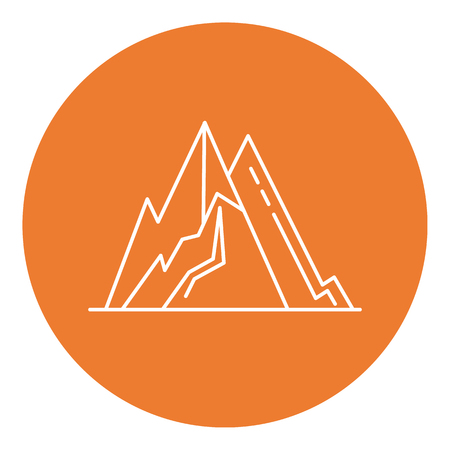 Mountain peaks icon in thin line style Stock Vector - 91369777