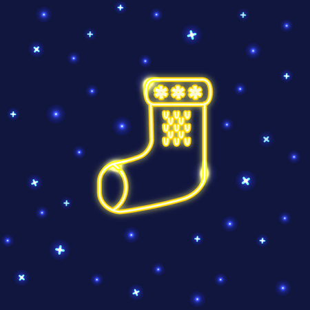 Neon Christmas sock icon in line style.