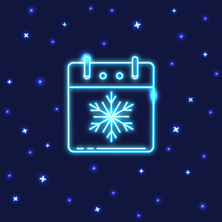 Neon Christmas or New Year calendar icon in line style. Shining calendar page with snowflake symbol for winter holidays.