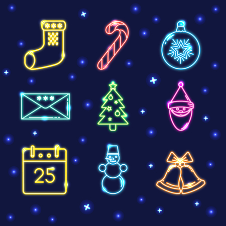 Neon collection of shining Christmas icons in line style.