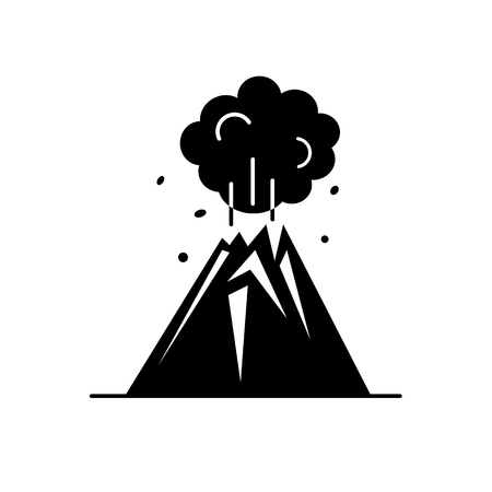Volcano eruption silhouette icon in flat style. Mountain symbol on white background