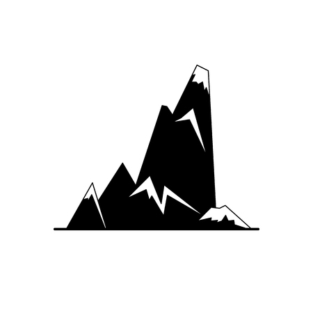 Cliff with sharp ledges silhouette icon in flat style. High mountain peak symbol on white background