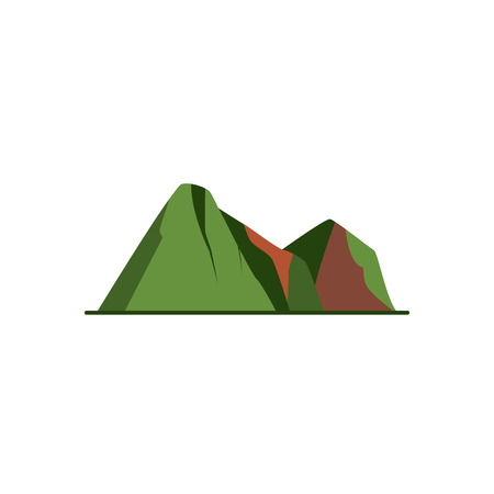 Mountain peaks icon in flat style. Colorful rocks symbol isolated on white background Illustration
