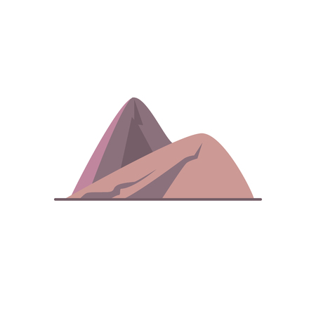 Sloping hills icon in flat style. Mountain symbol isolated on white background