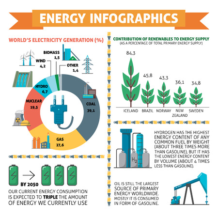Infographics about energy and electricity with power generation symbols. Vettoriali