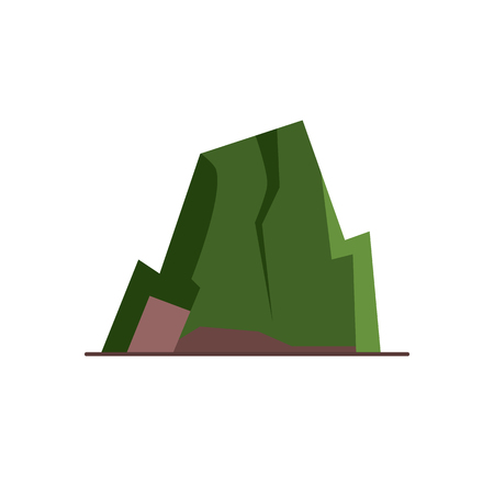 Mountain with ledges icon in flat style. Rock with plateau symbol isolated on white background. Illustration