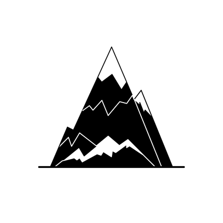Ice mountain peak silhouette icon in flat style.