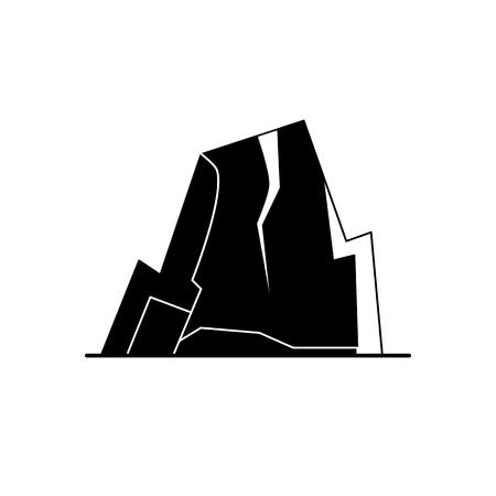 Mountain with ledges silhouette icon in flat style Ilustração