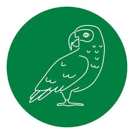African grey parrot icon in thin line style. Exotic tropical bird symbol in round frame.