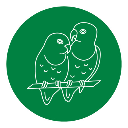 Lovebird parrots couple icon in thin line style. African tropical bird symbol in round frame. Illustration