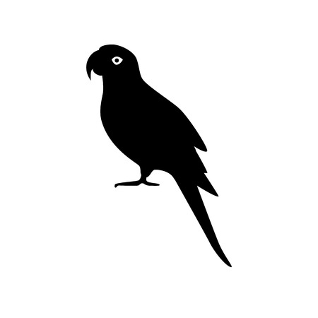 Alexandrine ringneck parrot silhouette icon in flat style. Exotic tropical bird symbol isolated on white background