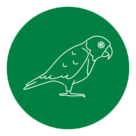 Senegal parrot icon in thin line style. Exotic tropical bird symbol in round frame.