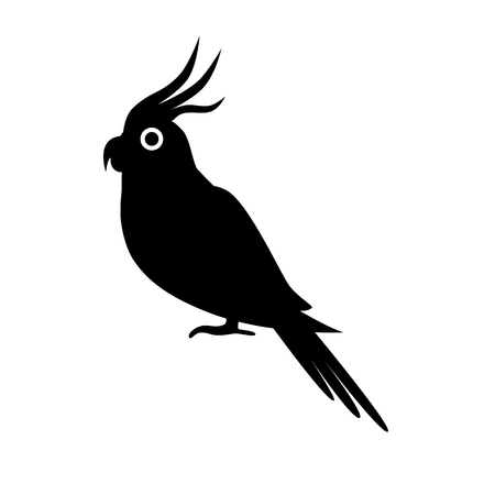 Corella parrot silhouette icon in flat style Illustration