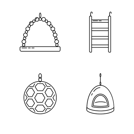 Icon set of accessories for parrot, canary or other bird in cage. Pet supplies collection in thin line style.