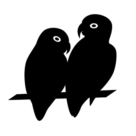 Lovebird parrots silhouette icon in flat style