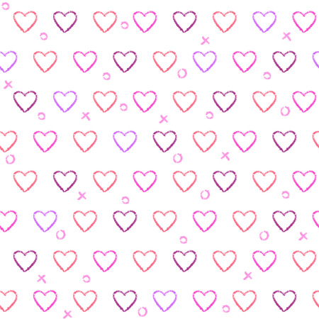 Abstract seamless pattern with doodle hearts on white background. Repeating texture with love symbols. Illustration