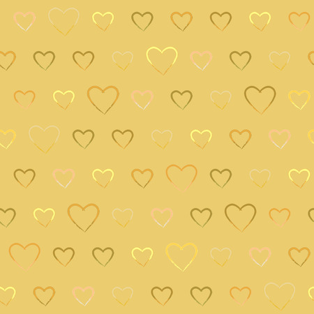 Golden seamless pattern with doodle hearts. Repeating texture with love symbols.
