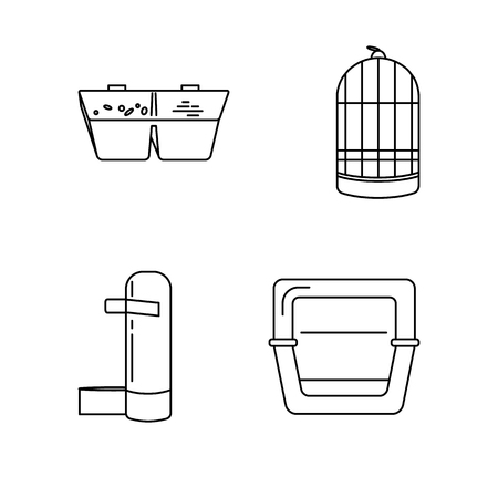 Line icon set of accessories for bird in cage