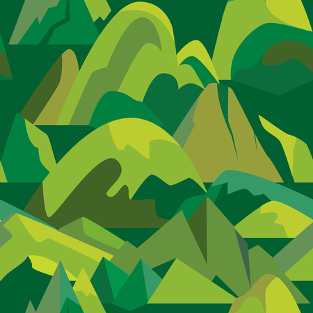 Seamless pattern with mountain icons in flat style. Illustration