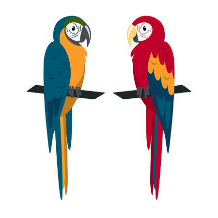 Macaw parrot icon in flat style. Stock Illustratie