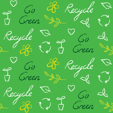 Ecology Seamless Pattern With Recycling Symbol And Text Royalty