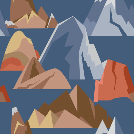 Seamless pattern with mountain icons in flat style. Repeatable background with different rock and hill symbols.