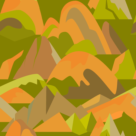 Bright seamless pattern with mountain icons in flat style. Repeatable background with different rock and hill symbols. Illustration