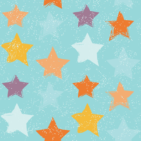 Seamless pattern with hand drawn stars  イラスト・ベクター素材
