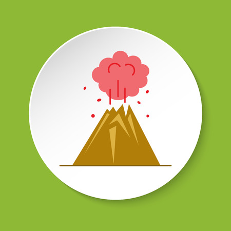 Volcano icon in flat style