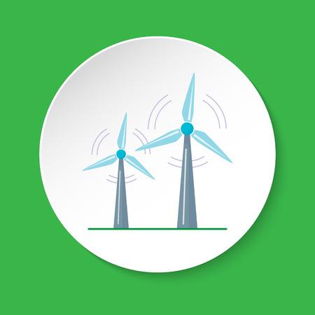 Wind turbine icon in flat style on round button 일러스트