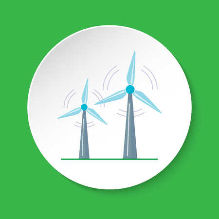 Wind turbine icon in flat style on round button Çizim