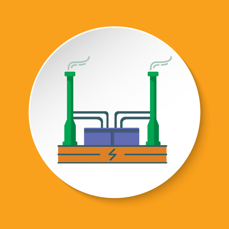 Geothermal power plant icon in flat style on round button