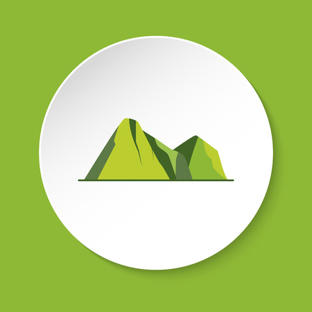 Mountain peaks icon in flat style. Colorful rocks symbol isolated on round button Illustration