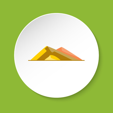 Sloping hills icon in flat style. Low mountain symbol on round button