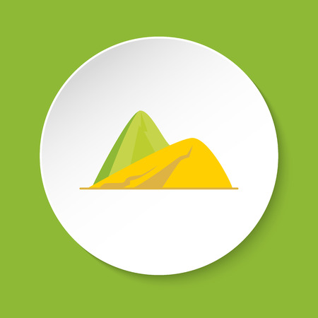 Sloping hills icon in flat style. Mountain symbol isolated on round button