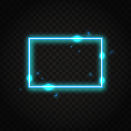 Neon blue rectangle frame with space for text. Abstract electric light background. Иллюстрация