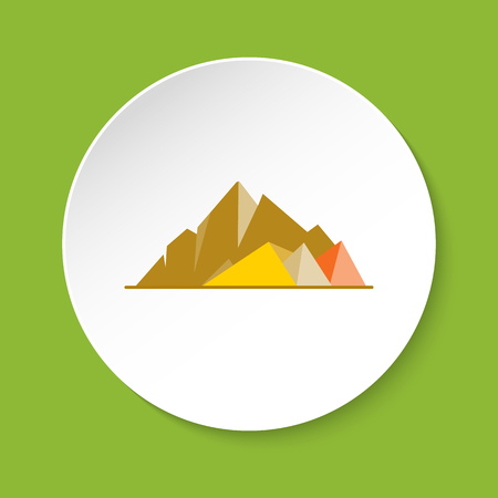 Mountain peaks icon in flat style
