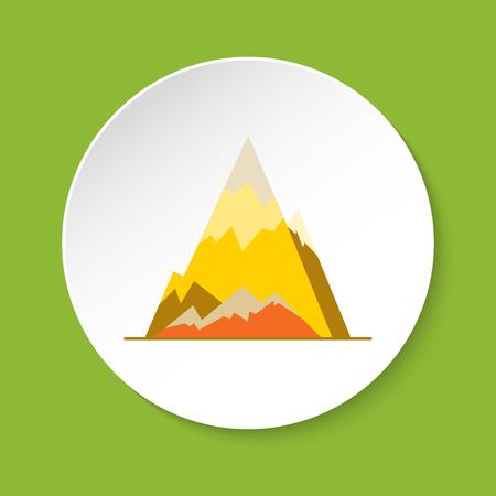 Ice mountain peak icon in flat style