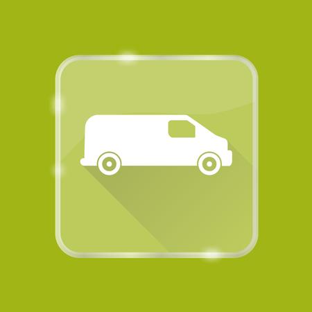 Flat style minivan car silhouette icon Illustration