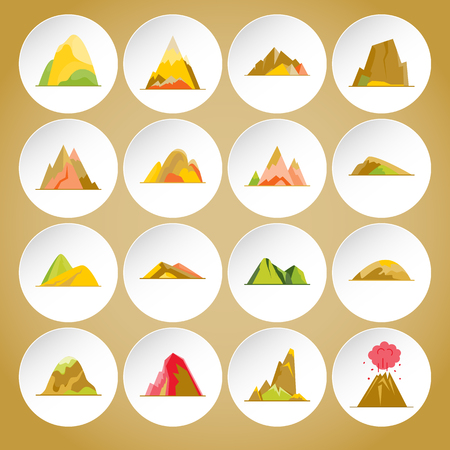 Collection of mountain icons in flat style