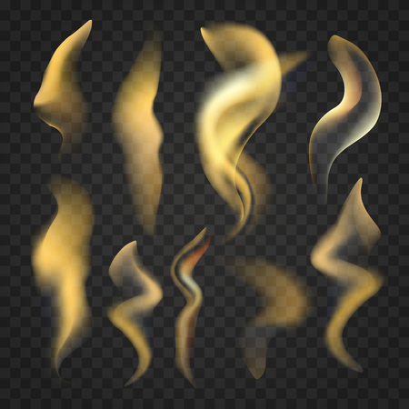 Set of realistic fire flames on transparent background. Illustration