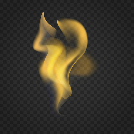Transparent realistic fire flames isolated on dark background. Illustration